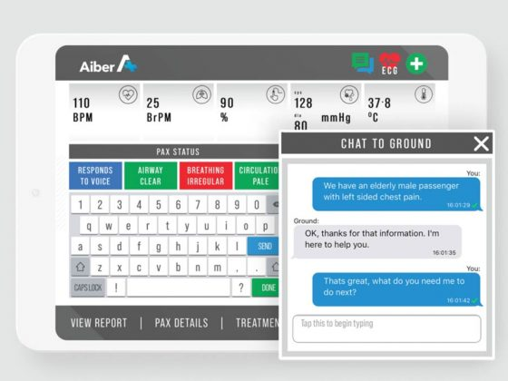 Aiber Medical Inflight App on iPad